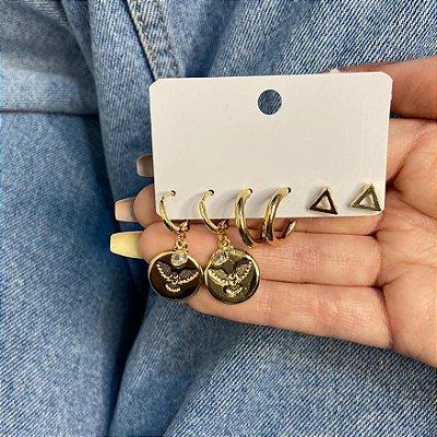 Kit de brincos, 3 pares, amanda, paz, R$ 4,96 o par, dourado - REF B951