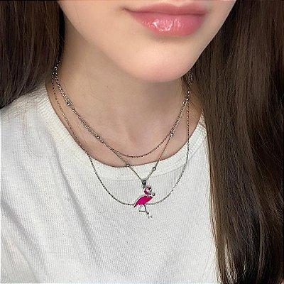 Colar triplo, lui, elo, flamingo, prateado - REF C100