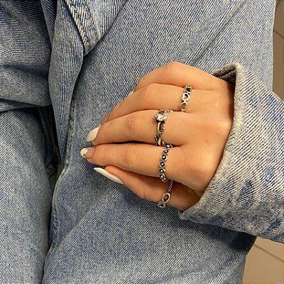 Conjunto de anéis com 4 peças, infinito, prateado envelhecido - REF K081