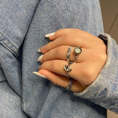 Conjunto de anéis com 4 peças, âncora, prateado envelhecido - REF K082