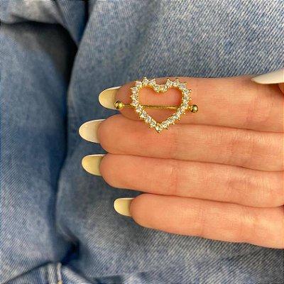 Piercing de furo, mamilo, coração (strass), dourado - REF X259