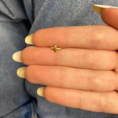 Piercing de furo, argolinha, cruz, dourado - REF X264
