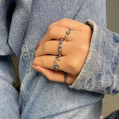 Conjunto de anéis com 4 peças, vida, prateado envelhecido - REF K083