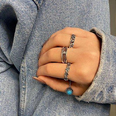 Conjunto de anéis com 4 peças, itália, azul, prateado envelhcido - REF K085