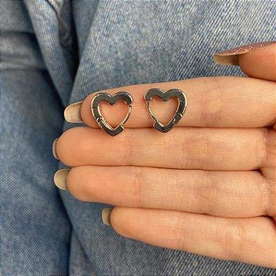 Brinco mini argolinha, amanda, coração, prateada - REF B963