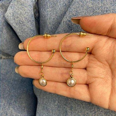 Brinco mini argolinha, letícia, pérola, dourada - REF B966