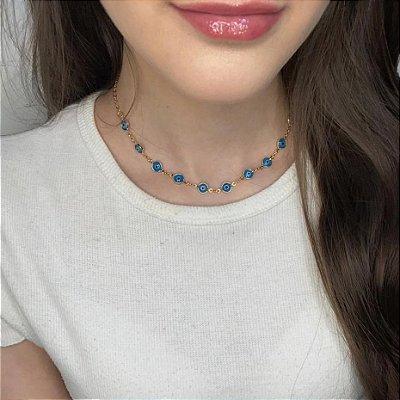 Choker afrodite, olho grego, tradição, azul claro, dourada - REF C127