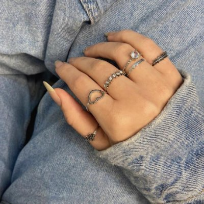 Conjunto de anéis com 6 peças, bohemia, meu jardim, prateado envelhecido, R$ 3,31 cada anel - REF K087