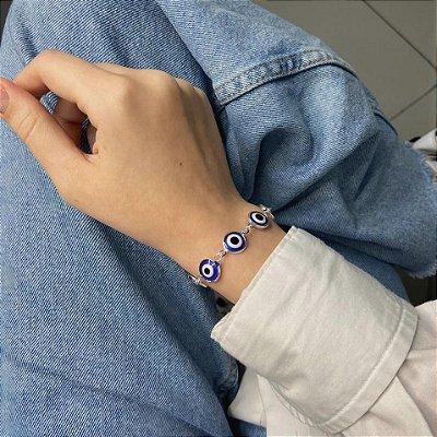 Pulseira atena, olho grego, azul escuro, prateada - REF P689