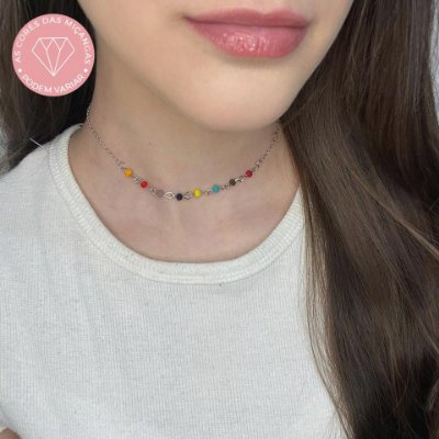 Choker amanda, arco-iris, prateado - REF C120