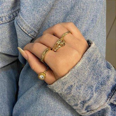 Conjunto de anéis com 4 peças, dama, dourado - REF K088