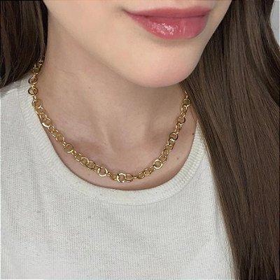 Colar curto, boliv, corrente, dourado - REF C134