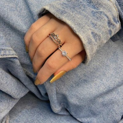 Anel duplo jack, 1 anel queen + 1 anel solitário, prateado - REF A362