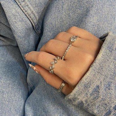 Conjunto de anéis com 4 peças, folhagem, prateado - REF K090