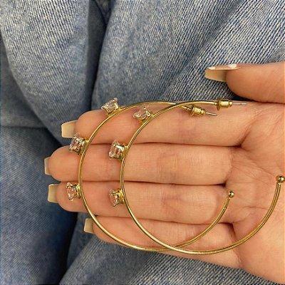 Brinco argola, amanda, gotas, dourado, 5,5cm - REF B973