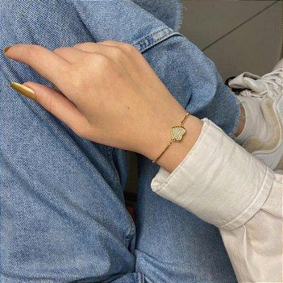 Pulseira amanda, coração (preenchido), dourada - REF P670