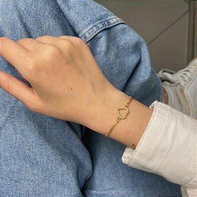 Pulseira amanda, coração (vazado), dourada - REF P673