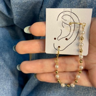 Brinco ear cuff c/ argolinha de pressão, letícia, jessie, delicado, dourado - B976