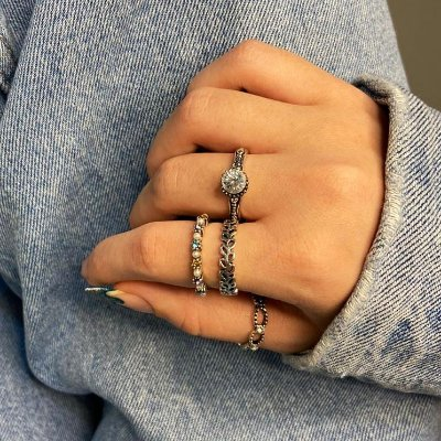 Conjunto de anéis com 4 peças, pérolado colorido, prateado - REF K093
