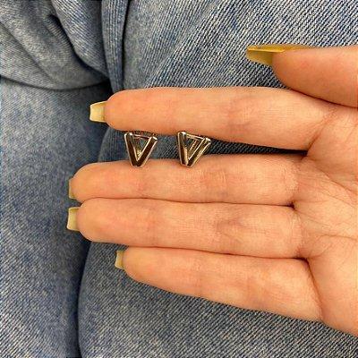 Brinco mini argolinha, amanda, v, prateada - REF B985