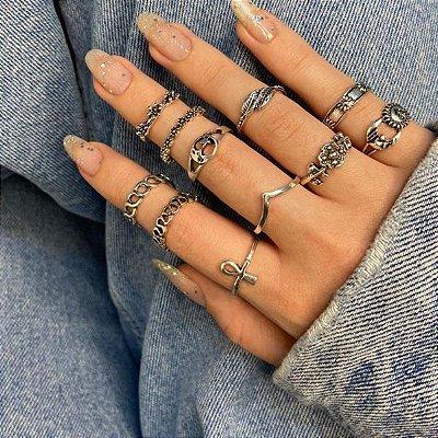 Conjunto de anéis com 11 peças, asia, prateado envelhecido, R$ 2,22 cada anel - REF K095