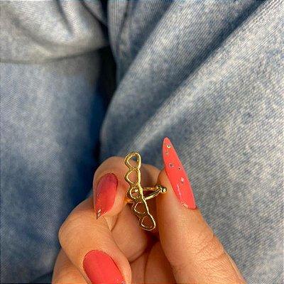 Piercing fake, paty, corações, dourado - REF X291