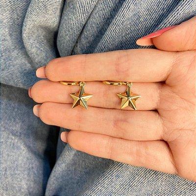 Brinco mini argolinha, amanda, estrela, dourada - REF B1001