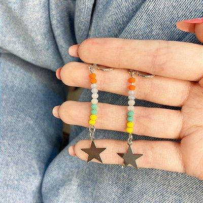 Brinco mini argolinha, amanda, estrela (com cores), prateada - REF B1003