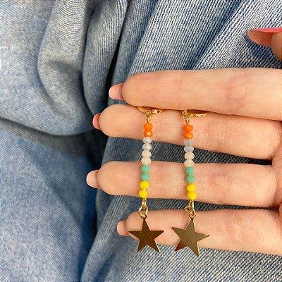 Brinco mini argolinha, amanda, estrela (com cores), dourada - REF B1004