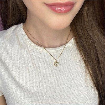 Colar curto, amanda, coração (strass), dourado - REF C190