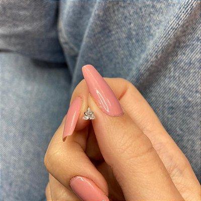 Piercing de furo, pino, brilho triângulo, prateado - REF X303