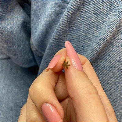 Piercing de furo, pino, flor slim, dourado - REF X306