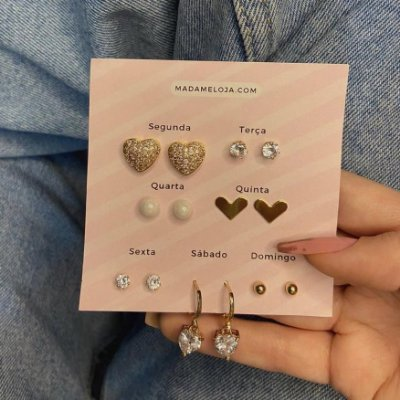 Kit de brincos, semaninha, corações, 7 pares, R$ 4,99 o par, dourado - REF B1021