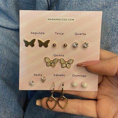 Kit de brincos, semaninha, borboletas, 7 pares, R$ 4,99 o par, dourado - REF B1022