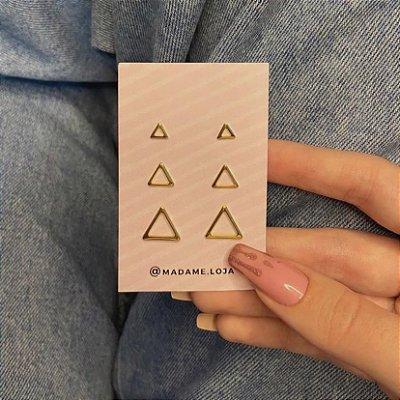 Kit de brincos, jennis, triângulos, 3 pares, R$ 5,60 o par, dourado - REF B1024