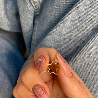 Piercing de furo, argolinha, estrela, dourado - REF X309