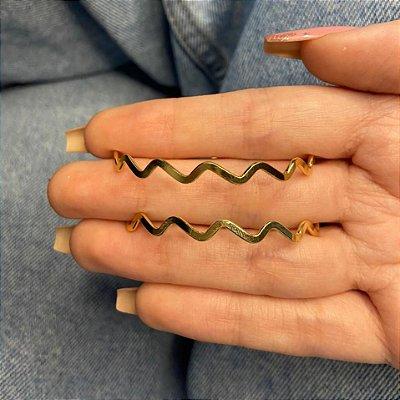 Brinco argola média, letícia, zigzag, 5cm, dourada - REF B1030