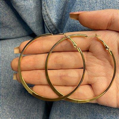 Brinco argola média, letícia, aro, 5cm, dourada - REF B1034