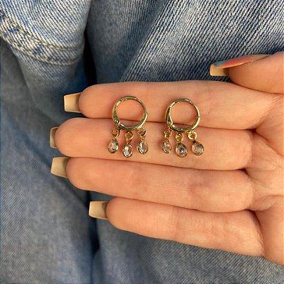 Brinco mini argolinha, amanda, bolinhas, dourada - REF B1049