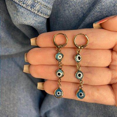 Brinco argolinha, amanda, olho grego, azul claro, dourada - REF B1050