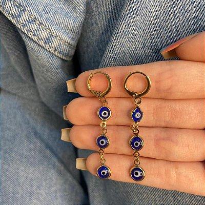 Brinco argolinha, amanda, olho grego, azul escuro, dourado - REF B1057