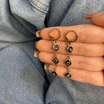 Brinco argolinha, amanda, olho grego, preto, dourado - REF B1059