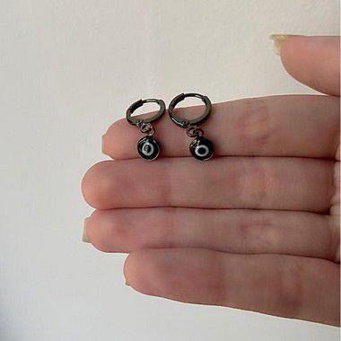 Brinco mini argolinha, jack, olho grego, ródio negro - REF B1060