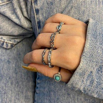 Conjunto de anéis com 5 peças, musa, turquesa, prateado - REF K103