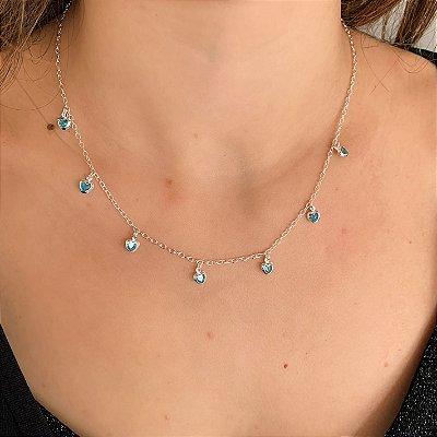 Colar de Prata 925 com Corações Pendurados Azul Claro