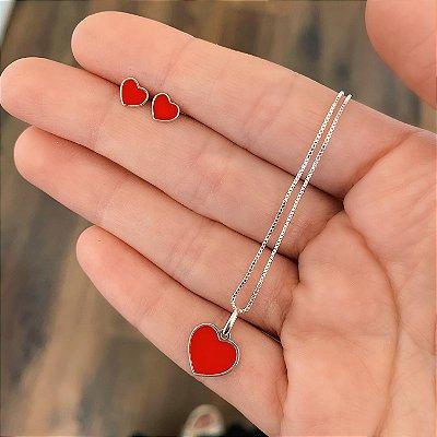 Conjunto Colar e Brinco de Prata 925 Coração Esmaltado Vermelho