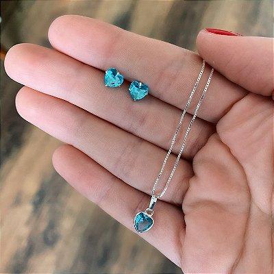 Conjunto Colar e Brinco de Prata 925 Coração Zircônia Azul Clara Delicada