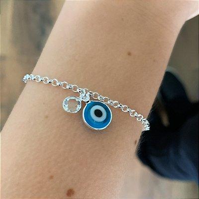 Pulseira de Prata 925 Olho Grego Azul Claro com Ponto de Luz