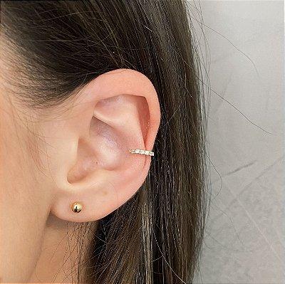 Piercing Fake Pequeno Cravejado de Zircônias Banhado a Ouro 18k