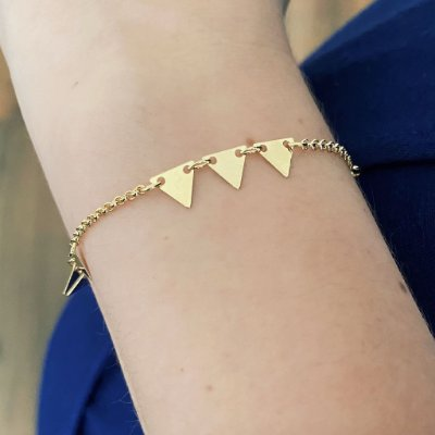 Pulseira Triângulos Banhada a Ouro 18k